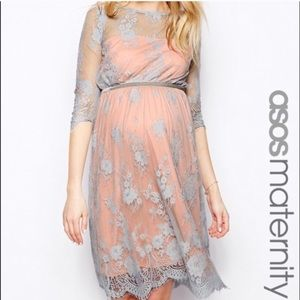 ASOS Maternity Floral Lace Overlay Shower Dress